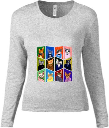 Dámske tričko s dlhým rukávom - posledné kusy skladom - Mačky 22921efa669
